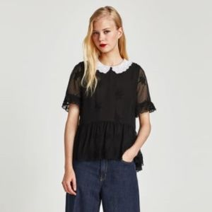 Zara Black Embroidered Short Sleeve Blouse